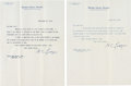 Autographs:Statesmen, Henry Cabot Lodge: Two Typed Letters Signed as U.S. Senator.. ...(Total: 2 Items)