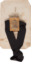 Political:Ferrotypes / Photo Badges (pre-1896), Abraham Lincoln: Mourning Badge....