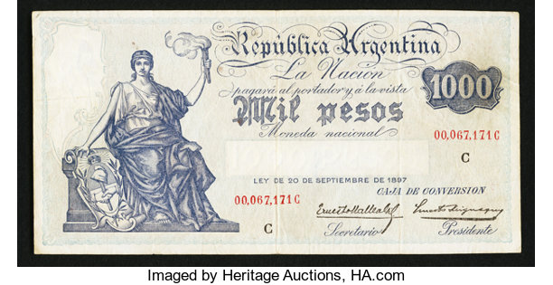 World Currency Argentina Caja De Conversion 1000 Pesos Nd 1934 Pick 249c