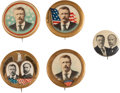Political:Pinback Buttons (1896-present), Theodore Roosevelt: Jugate and Single Portrait Pins.... (Total: 5 Items)