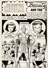 "Jack Kirby and Dick Ayers Incredible Hulk #5 Tyrannus ""Beauty and the Beast"" Splash Page 1 Original Art (Marve..."