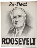 Political:Textile Display (1896-present), Franklin D. Roosevelt: Large Headquarters Banner....