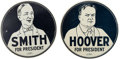 Political:Miscellaneous Political, Herbert Hoover and Al Smith: Pair of Portrait Stove Flue Covers....(Total: 2 Items)