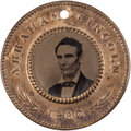 Political:Ferrotypes / Photo Badges (pre-1896), Abraham Lincoln: Pristine Back-to-Back Ferrotype Badge....