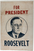 Political:Textile Display (1896-present), Franklin D. Roosevelt: 1932 Portrait Banner....