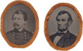 Political:Ferrotypes / Photo Badges (pre-1896), Abraham Lincoln and George McClellan: Matching Ferrotypes....