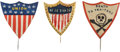 Political:Ribbons & Badges, [Abraham Lincoln]: Trio of Civil War Hand-Painted Patriotic Stickpins.... (Total: 3 Items)