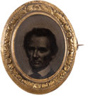 Political:Ferrotypes / Photo Badges (pre-1896), Abraham Lincoln: Oval Cooper Union Portrait Ferrotype Brooch....