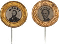 Political:Ferrotypes / Photo Badges (pre-1896), Ulysses S. Grant and Horatio Seymour: Pair of PristineStickpins....
