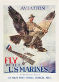 Military & Patriotic:WWI, Howard Chandler Christy: Marine Aviation Recruitment Poster....