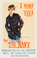 Military & Patriotic:WWI, World War I: Howard Chandler Christy Recruitment Poster. ...