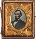 Political:Ferrotypes / Photo Badges (pre-1896), Abraham Lincoln: Sixth Plate Cased Portrait. ...