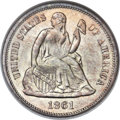 Seated Dimes, 1861-S 10C MS66 NGC. CAC. Fortin-102, High R.4....