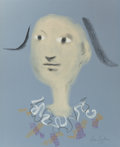 Fine Art - Work on Paper:Drawing, JEAN COCTEAU (French, 1889-1963). Harlequin, 1955. Pastel onblue paper. 21-5/8 x 17-5/8 inches (54.9 x 44.8 cm) (sight)...