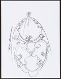 Mainstream Illustration, Reem Acra. Doodle for Hunger. Crayon on paper. 9 x 12 in..Signed. ...