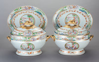 A PAIR OF CHINESE EXPORT PAINTED PORCELAIN SOUP TUREENS WITH UNDERPLATES, circa 1820 10-3/4 inches high x 13-1/4 i