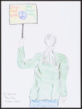 Mainstream Illustration, Ron Kuby. Doodle for Hunger, 2007. Crayon on paper. 9 x 12in.. Signed. ...