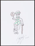 Mainstream Illustration, Bob Cousy. Doodle for Hunger, 2003. Crayon on paper. 9 x 12in.. Signed. ...