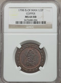 Isle of Man, Isle of Man: George III 1/2 Penny 1798 MS64 Red and Brown NGC,...