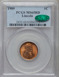 Lincoln Cents: , 1909 1C MS65 Red PCGS. CAC. PCGS Population (1033/565). NGC Census:(361/175). Mintage: 72,702,616. Numismedia Wsl. Price f...