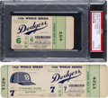 Baseball Collectibles:Tickets, 1956 New York Yankees vs. Brooklyn Dodgers Game 7 Full Ticket &Game 6 Stub Lot of 2....