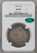 Bust Half Dollars: , 1835 50C AU58 NGC. CAC. NGC Census: (175/199). PCGS Population(119/146). Mintage: 5,352,006. Numismedia Wsl. Price for pro...