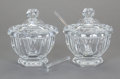 Art Glass:Other , A PAIR OF BACCARAT GLASS COVERED CONDIMENT JARS IN ORIGINAL BOXES,second half 20th century. Marks: BACCARAT, FRANCE. 5-...(Total: 2 Items)