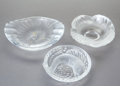 Art Glass:Lalique, THREE LALIQUE GLASS BOWLS, post 1945. Marks: Lalique,France. 2-3/4 inches high x 8-1/2 inches wide (7.0 x 21.6 cm)(lar... (Total: 3 Items)