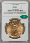 Saint-Gaudens Double Eagles, 1910-D $20 MS64+ NGC. CAC. NGC Census: (1768/486). PCGS Population(1963/1111). Mintage: 429,000. Numismedia Wsl. Price for...