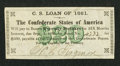 Confederate Notes:Group Lots, $20 Confederate Bond Coupon For 1861 $500 Bond.. ...