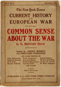 Books:Americana & American History, George Bernard Shaw. Common Sense about the War. Publishedin The New York Times Current History of the European W...