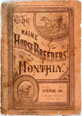 Books:Sporting Books, [Americana] [Sporting]. The Maine Horse Breeders' Monthly,Vol. III, No. 11. Canton, ME: J.W. Thompson, 1881. Pi...