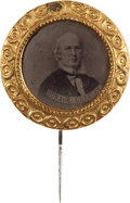 Political:Ferrotypes / Photo Badges (pre-1896), Horace Greeley: Large Ferrotype Stickpin....