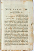 Books:Americana & American History, [Americana] [Knights Templar]. The Templar's Magazine.Cincinnati: [N.p.], 1852. Wrappers lacking. String bound. Edg...