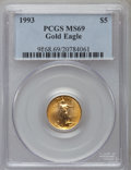 Modern Bullion Coins: , 1993 G$5 Tenth-Ounce Gold Eagle MS69 PCGS. PCGS Population (1117/15). NGC Census: (1456/162). Mintage: 210,709. Numismedia ...