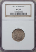 Liberty Nickels: , 1883 5C No Cents MS65 NGC. NGC Census: (1869/533). PCGS Population(1419/393). Mintage: 5,479,519. Numismedia Wsl. Price fo...