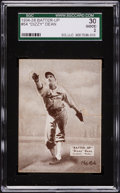Baseball Cards:Singles (1930-1939), 1934-36 R318 Batter-Up Dizzy Dean, Black #64 SGC 30 Good 2....