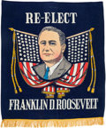 Political:Textile Display (1896-present), Franklin D. Roosevelt: Large Silkscreened Banner....
