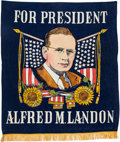 Political:Textile Display (1896-present), Alf Landon: Large Silkscreened Banner....