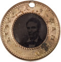 Political:Ferrotypes / Photo Badges (pre-1896), Abraham Lincoln: Small Back-to-Back Ferrotype Badge....