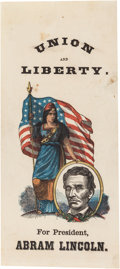 Political:Ribbons & Badges, Abraham Lincoln: 1864 Multicolored Paper Campaign Ribbon....