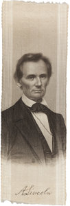 Political:Ribbons & Badges, Abraham Lincoln: Outstanding Brady Portrait Ribbon....