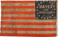 Political:Textile Display (pre-1896), Rutherford B. Hayes: Hayes and Wheeler Campaign Flag....