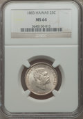Coins of Hawaii: , 1883 25C Hawaii Quarter MS64 NGC. NGC Census: (219/285). PCGSPopulation (335/276). Mintage: 500,000. . From theCollecti...