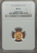 Commemorative Gold: , 1916 G$1 McKinley MS62 NGC. NGC Census: (272/1996). PCGS Population(381/3774). Mintage: 9,977. Numismedia Wsl. Price for p...