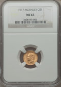 Commemorative Gold: , 1917 G$1 McKinley MS63 NGC. NGC Census: (224/945). PCGS Population(456/1833). Mintage: 10,000. Numismedia Wsl. Price for p...