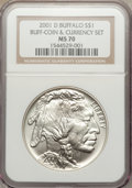 Modern Issues, 2001-D $1 Buffalo Silver Dollar MS70 NGC. Ex: Buff Coin &Currency Set. NGC Census: (1759). PCGS Population (1013). Nu...