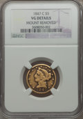 1847-C $5 -- Mount Removed -- NGC Details. VG. NGC Census: (1/246). PCGS Population (3/204). Mintage: 84,100. Numismedia...