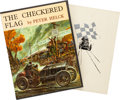 Automobilia, THE CHECKERED FLAG BY PETER HELCK SIGNED WITH RARE SLIP COVER #431/500 . 1961. 13-1/2 x 10-1/4 inches (34.3 x 26.0 cm). ...