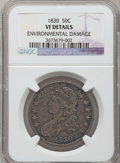 Bust Half Dollars, 1830 50C Small 0 -- Environmental Damage -- NGC Details. VF. NGCCensus: (32/1856). PCGS Population (21/1710). Mintage: 4,7...